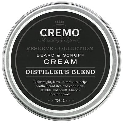 Купить Cremo Reserve Collection, Beard and Scruff Cream, Distiller's Blend, 4 oz (113 g)