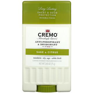 Cremo, Anti-Perspirant & Deodorant, No. 02, Sage & Citrus, 2.65 oz (75 g)