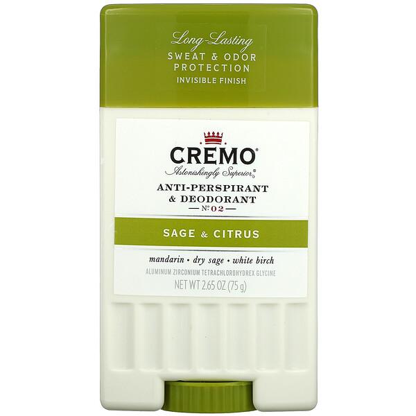 Anti-Perspirant & Deodorant, No. 2, Sage & Citrus, 2.65 oz (75 g)