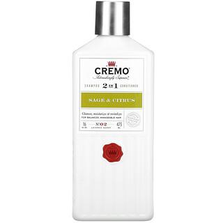 Cremo, 2 In 1 Shampoo & Conditioner, No. 02, Sage & Citrus, 16 fl oz (473 ml)