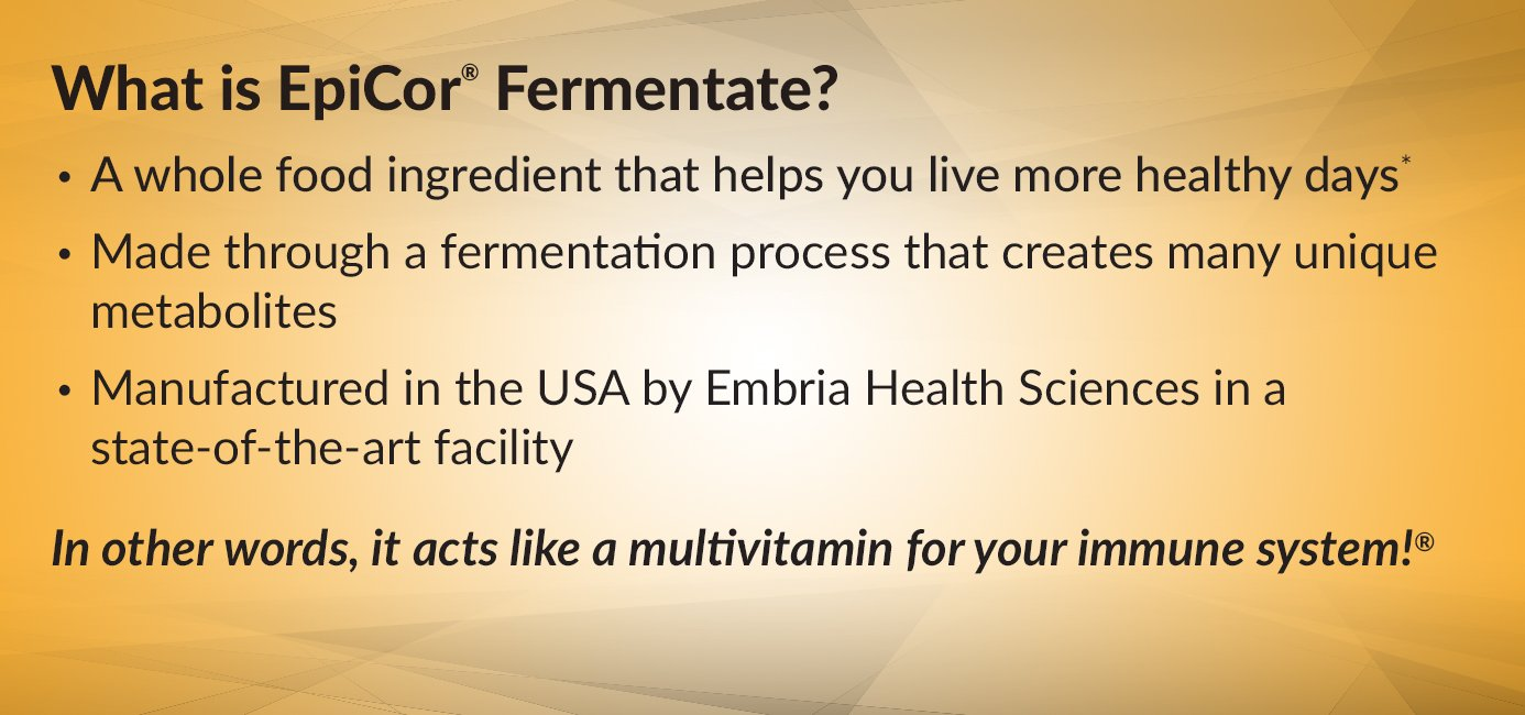 EpiCor Fermentate is a whole food ingredient made through a fermentation process that creates many unique metabolites.