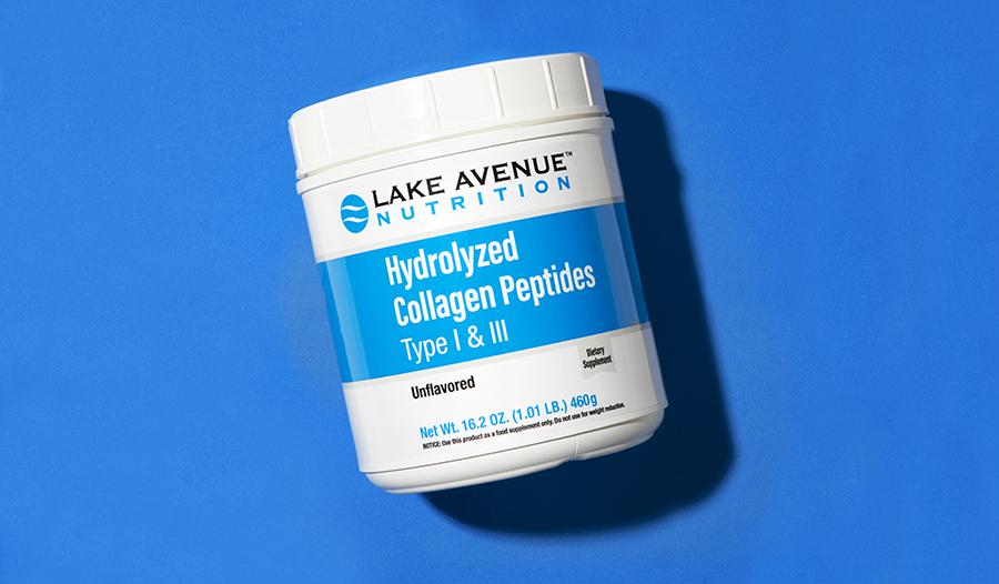 Collagen supplement on blue background