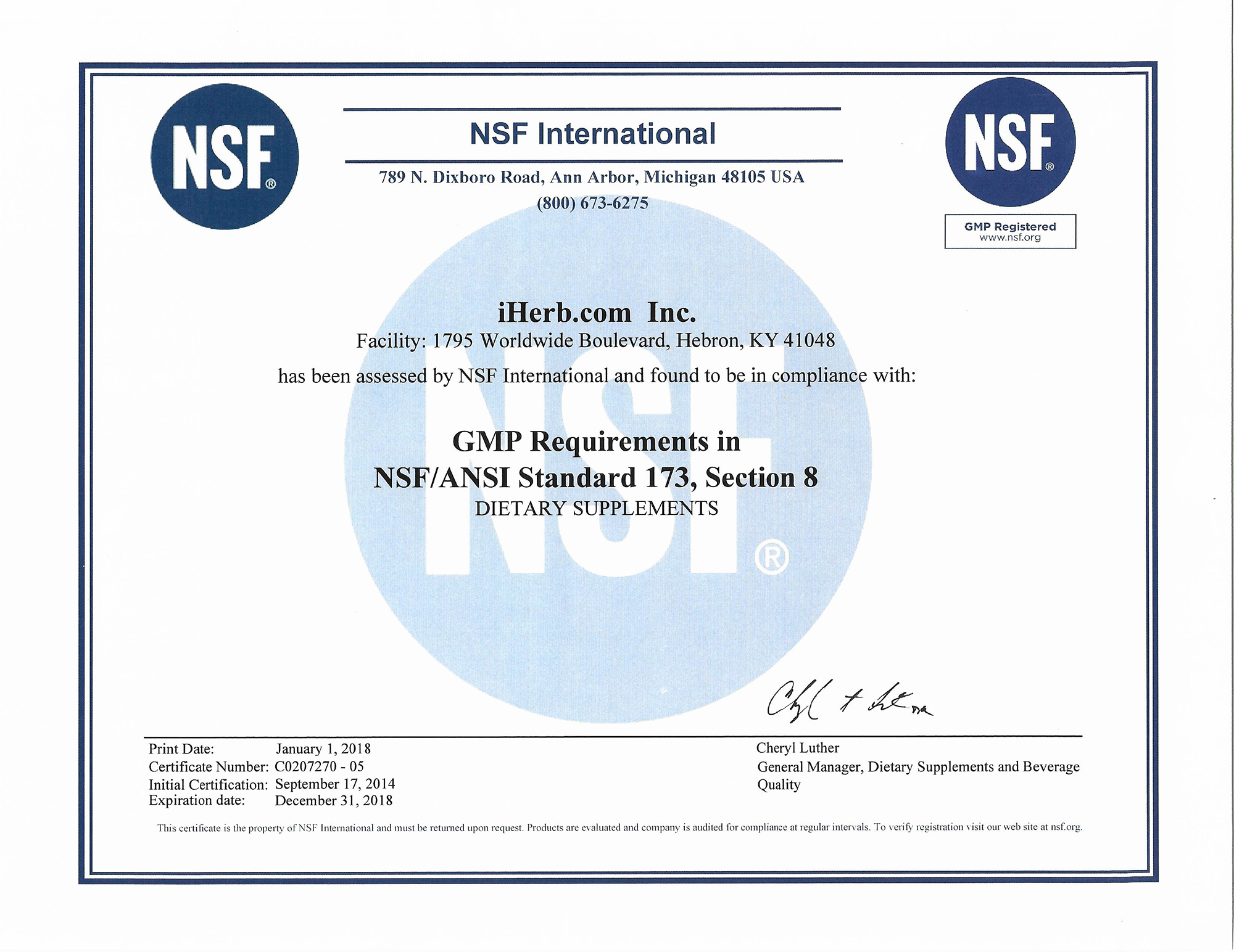 Iherb Gmp Certification