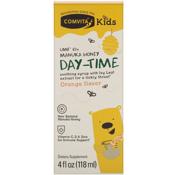 Comvita Kids, Day-Time Soothing Syrup with Ivy Leaf, UMF 10+ Manuka Honey, Orange Flavor, 4 fl oz (118 ml)