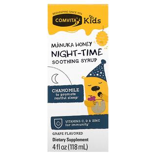 Comvita, Kids, Manuka Honey Night-Time Soothing Syrup, Grape, 4 fl oz (118 ml)