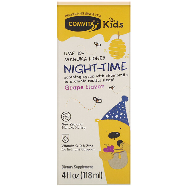 Comvita, Comvita Kids, Night-Time Soothing Syrup with Chamomile, UMF 10+ Manuka Honey, Grape Flavor, 4 fl oz (118 ml)