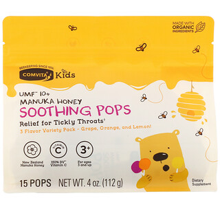 Comvita, Kids, Soothing Pops, UMF 10+ Manuka Honey, 3 Flavor Variety Pack, 15 Pops, 4 oz (112 g)