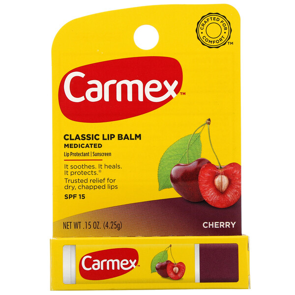 Carmex, Classic Lip Balm, Medicated, Cherry, SPF 15, .15 oz (4.25 g) (Discontinued Item)