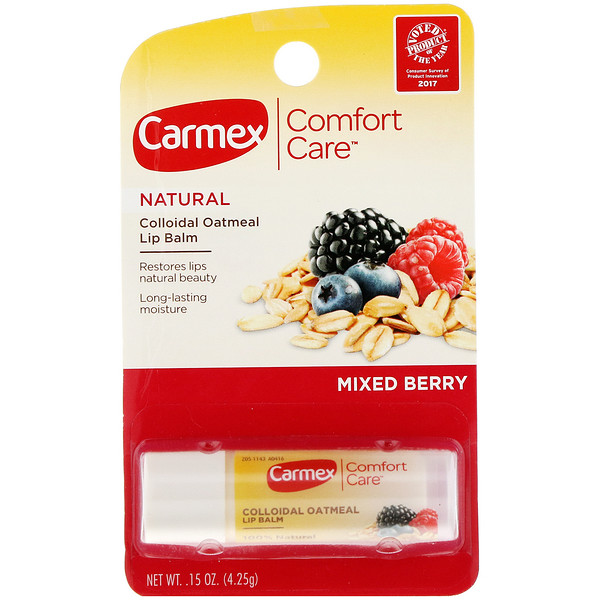 Carmex, Comfort Care, Colloidal Oatmeal Lip Balm, Mixed Berry, .15 oz (4.25 g)
