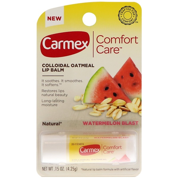 Carmex, Comfort Care, Colloidal Oatmeal Lip Balm, Watermelon Blast, .15 oz (4.25 g)