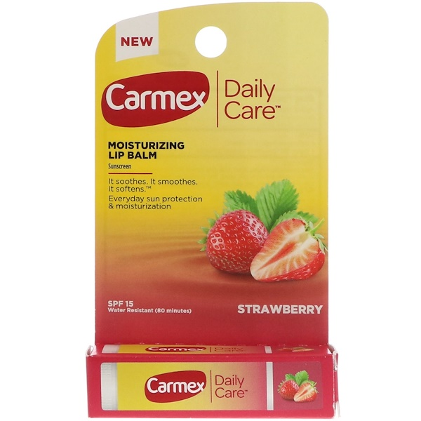 Carmex, Daily Care, Moisturizing Lip Balm, Strawberry, SPF 15, .15 oz (4.25 g)