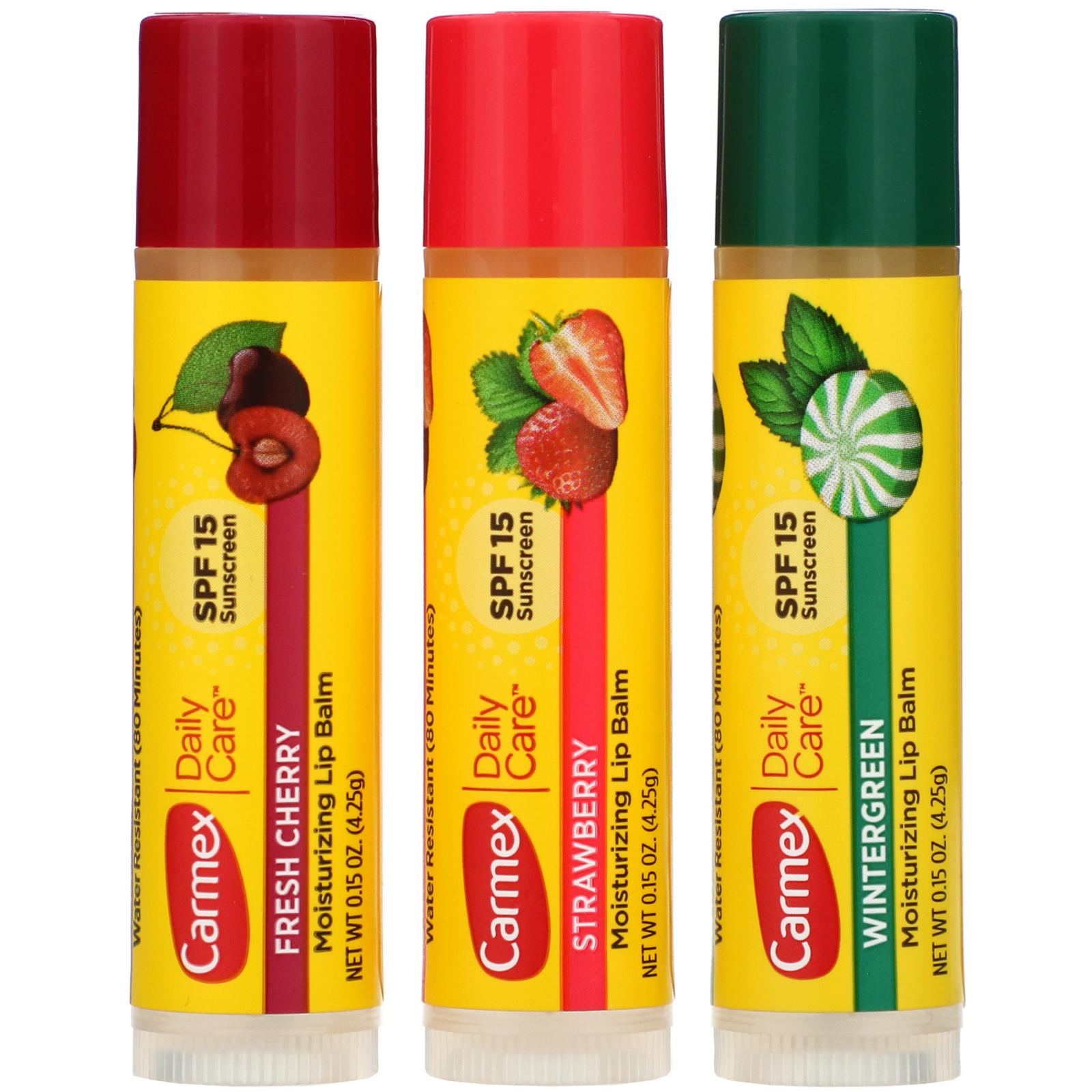 Carmex, Бальзам для губ для ежедневного ухода, SPF 15, ассорти, 3 упаковки, 0,15 унции (4,25 г) каждая