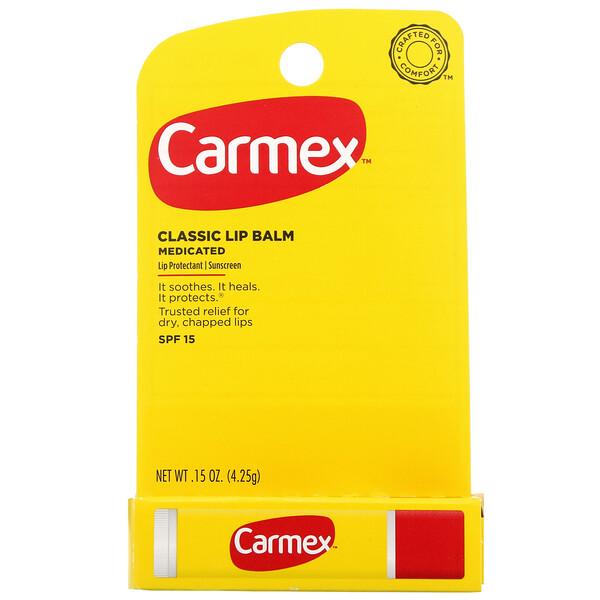Carmex, Classic Lip Balm, Medicated, SPF 15, .15 oz (4.25 g)