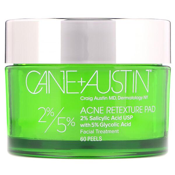 Cane + Austin, にきびリテクスチャパッド, 2% サリチル酸 / 5% グリコール酸, 60 ピール