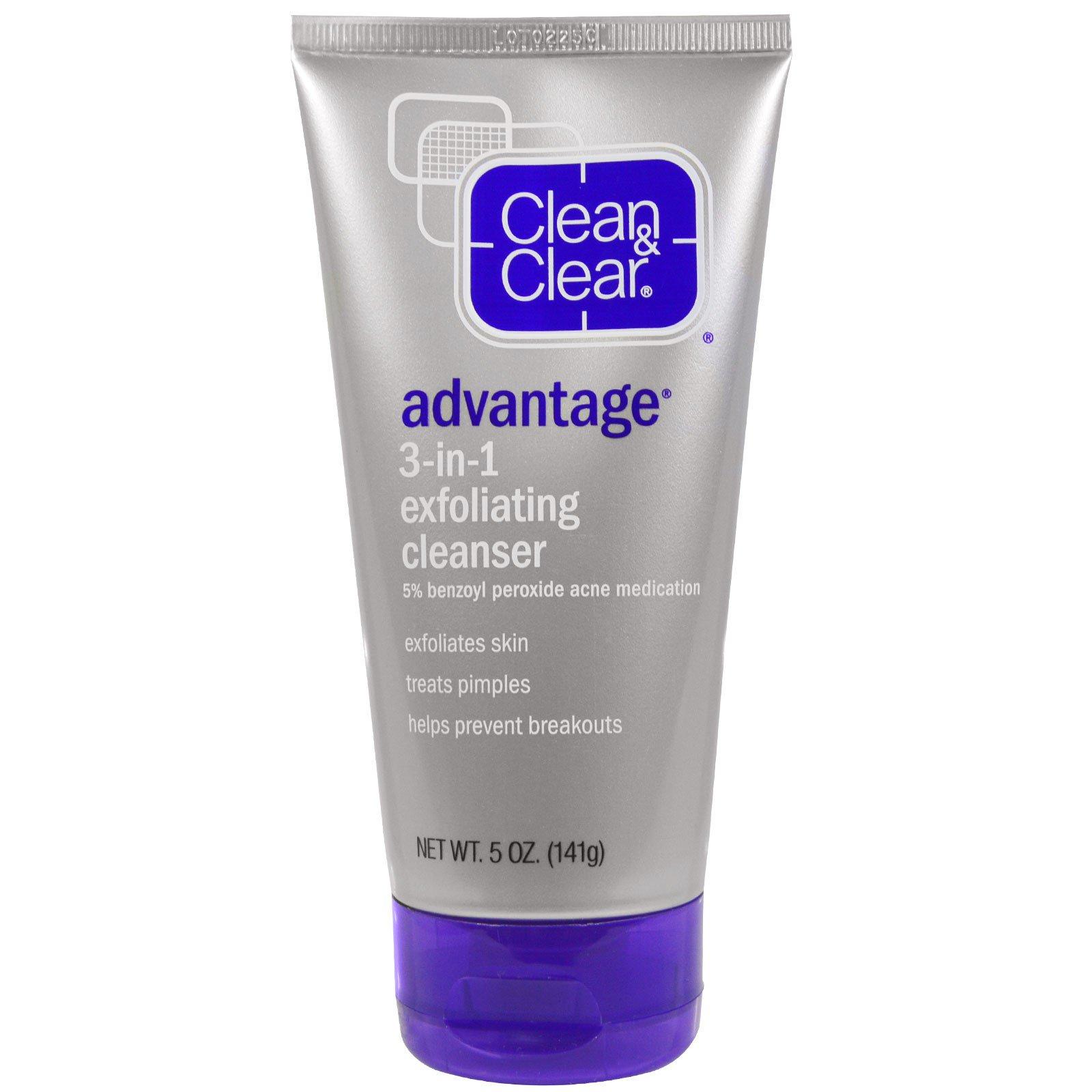 Clean & Clear, Преимущество, Отшелушивающее очищающее средство «3-в-1», 5 унций (141 г)
