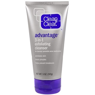 Clean & Clear, Advantage, 3-in-1 Exfoliating Cleanser, 5 oz (141 g)