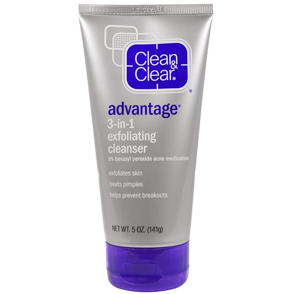 Clean & Clear, Advantage, 3-in-1 Exfoliating Cleanser, 5 oz (141 g) (Discontinued Item)