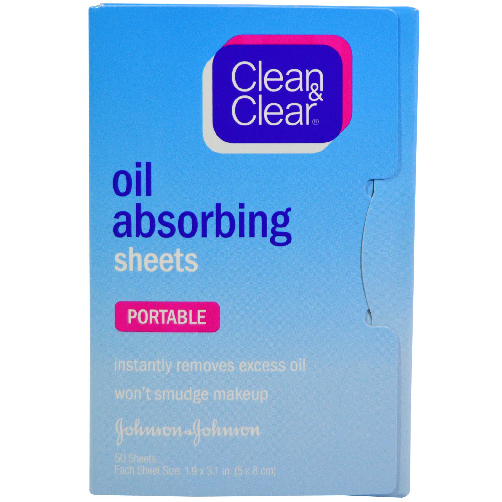 Clean & Clear, Салфетки, впитывающие масло, дорожные, 50 салфеток
