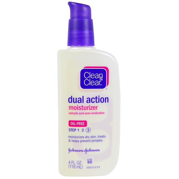 Clean & Clear, Hydratant Double Action, Acide Salicylique – Médicament anti-acné, 4 fl oz (118 ml)