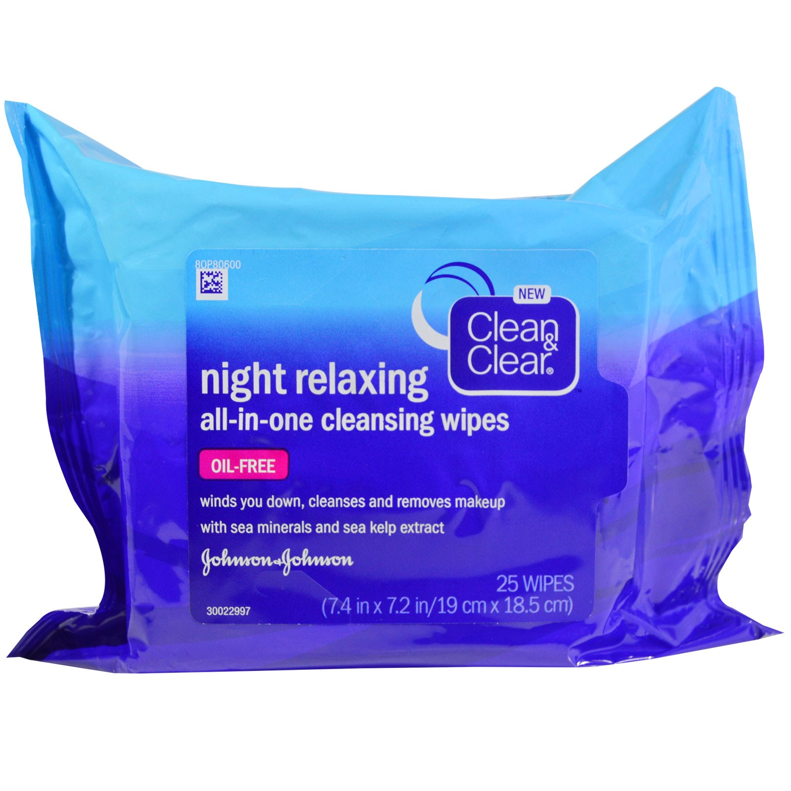 Clean & Clear, Night Relaxing, All-In-One Cleansing Wipes, 25 Wipes, 7.4 in x 7.2 in (19 cm x 18.5 cm)