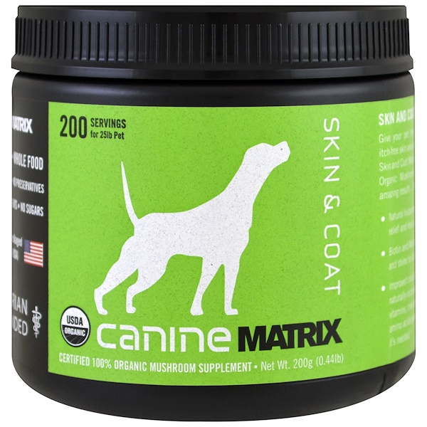 Canine Matrix, Skin & Coat, Mushroom Powder, 0.44 lb (200 g)