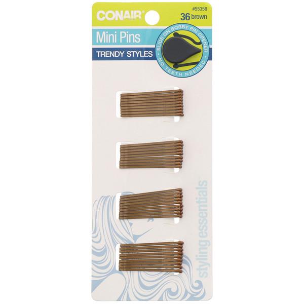 Conair, Mini Pins, Brown, 36 Pieces