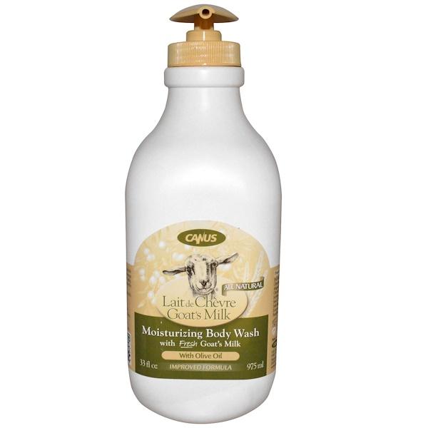 Canus, Goat's Milk, Увлажняющий гель для душа, с оливковым маслом 33 жидких унции (975 мл) (Discontinued Item)
