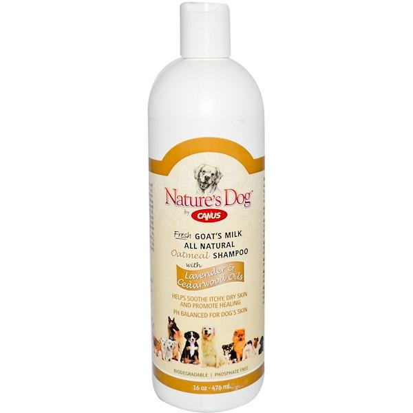 Canus, Nature's Dog, шампунь из свежего козьего молока и овсянки, с лавандой и кедровым деревом 16 унции (476 мл) (Discontinued Item)