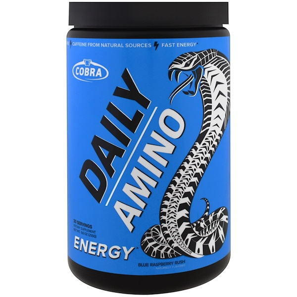 Cobra Labs, Daily Amino, Energy, Blue Raspberry Rush, 9,0 унций (255 г)
