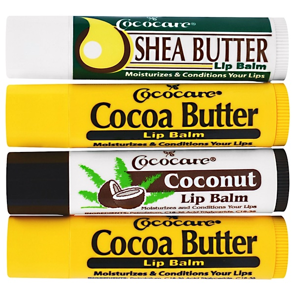Cococare, Lip Balm Set, 4 Pack, .15 oz (4.2 g) Each (Discontinued Item)