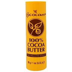 Cococare, 100% Cocoa Butter, The Yellow Stick, 1 oz (28 g)