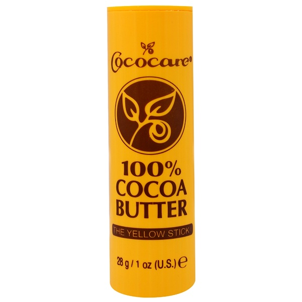 Cococare, 100% Cocoa Butter, The Yellow Stick, 1 oz (28 g)