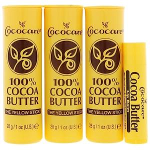 Cococare, Стик из 100%-го масла какао + бесплатный бальзам для губ, 3 штуки