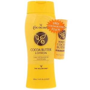 Кококер, The Yellow One, Cocoa Butter Lotion with Free Cocoa Butter Stick, 14 fl oz (436 ml) отзывы