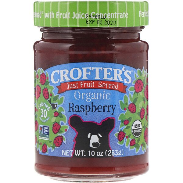 Crofter's Organic, Just Fruit Spread, Organic Raspberry, 10 oz (283 g) (Discontinued Item)