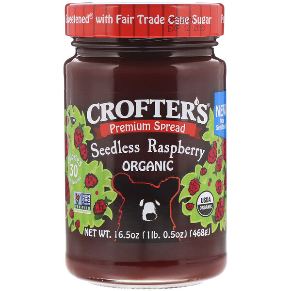 Crofter's Organic, Organic Premium Spread, Seedless Raspberry, 16.5 oz (468 g) (Discontinued Item)