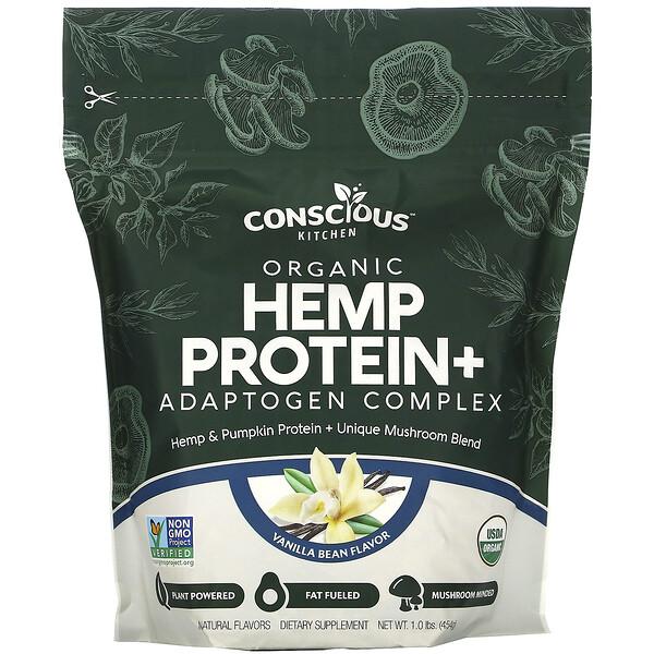 Organic Hemp Protein+ Adaptogen Complex, Vanilla Bean, 1.0 lbs (454 g)