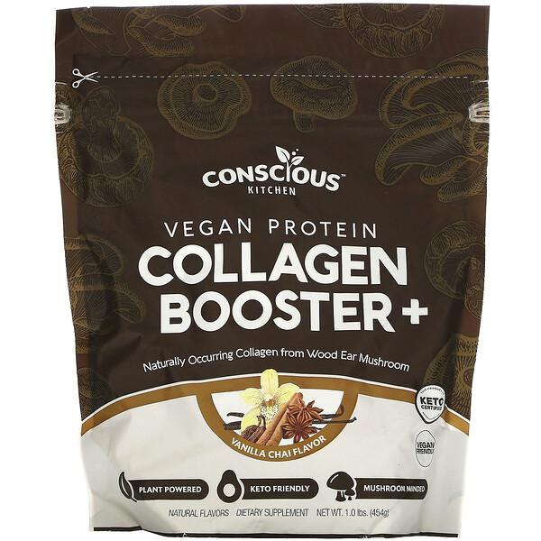 Vegan Protein Collagen Booster+, Vanilla Chai, 1.0 lbs (454 g)