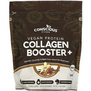 Conscious Kitchen, Vegan Protein Collagen Booster+, Vanilla Chai, 1.0 lbs (454 g)