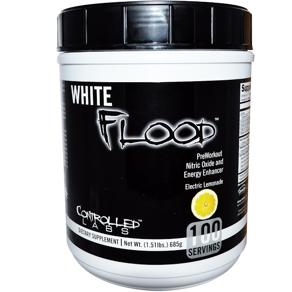 Controlled Labs, White Flood, Preworkout Nitric Oxide and Energy Enhancer, Electric Lemonade, 1.51 lbs (685 g) (Discontinued Item)