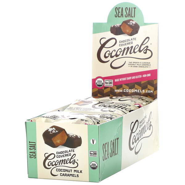 Cocomels, Organic, Chocolate Covered Coconut Milk Caramels, Sea Salt, 15 Units, 1 oz (28 g) Each (Discontinued Item)
