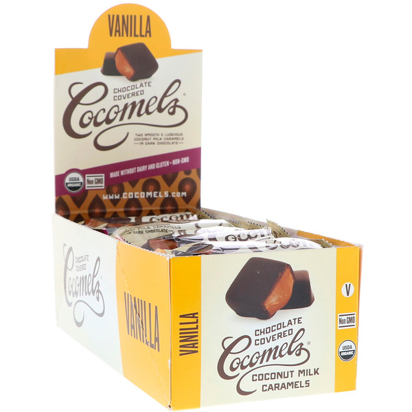 Cocomels, Orgánicos, caramelos de leche de coco cubiertos de chocolate, vainilla, 15 unidades, 1 oz (28 g) c/u