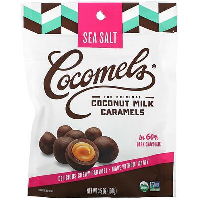 Купить Cocomels Органический продукт, Кокосовое молоко и карамель, Кусочки, Морская соль, 3, 5 унц. (100 г)
