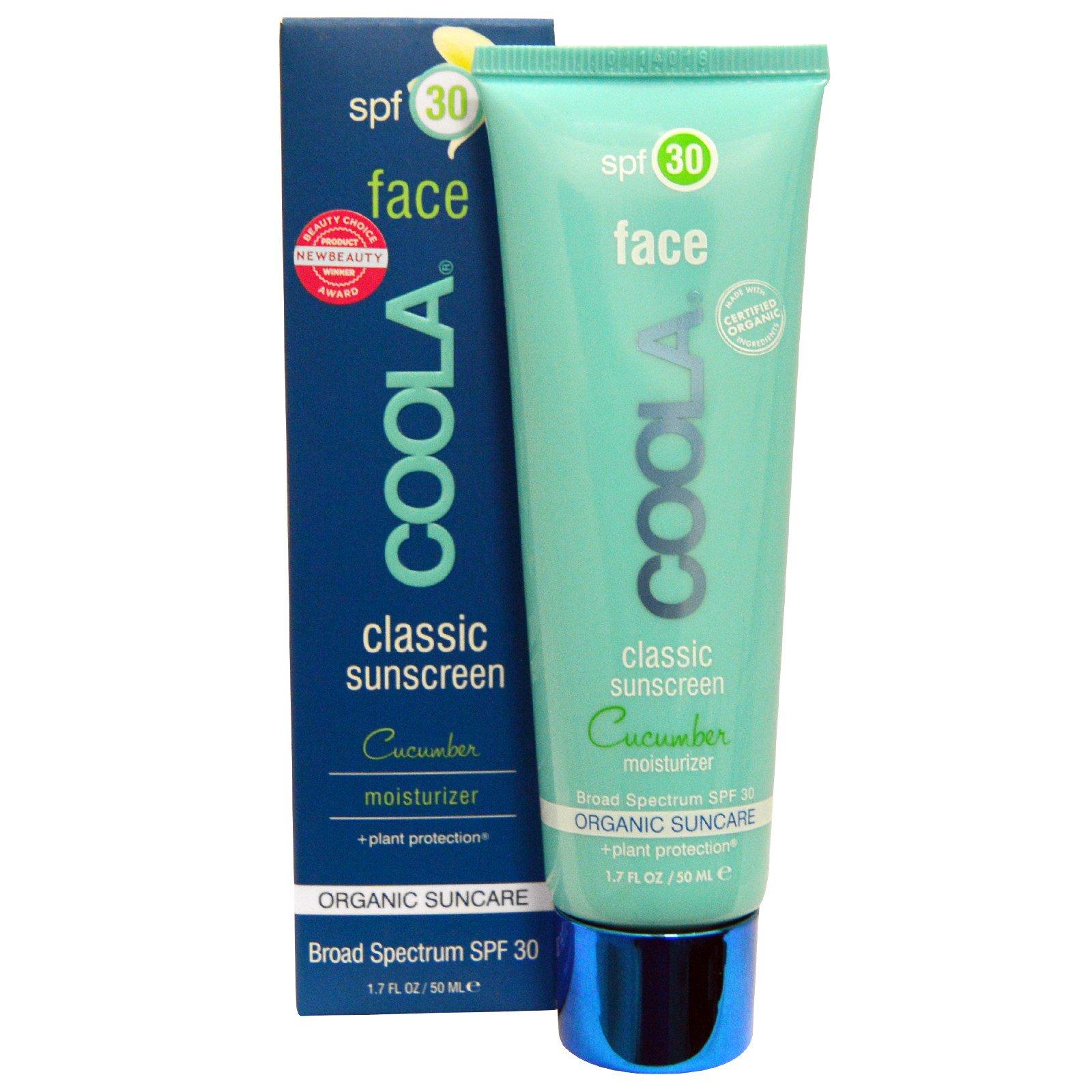 COOLA Organic Suncare Collection, Классический солнцезащитный крем для лица с SPF 30 и огуречным ароматом, 50 мл