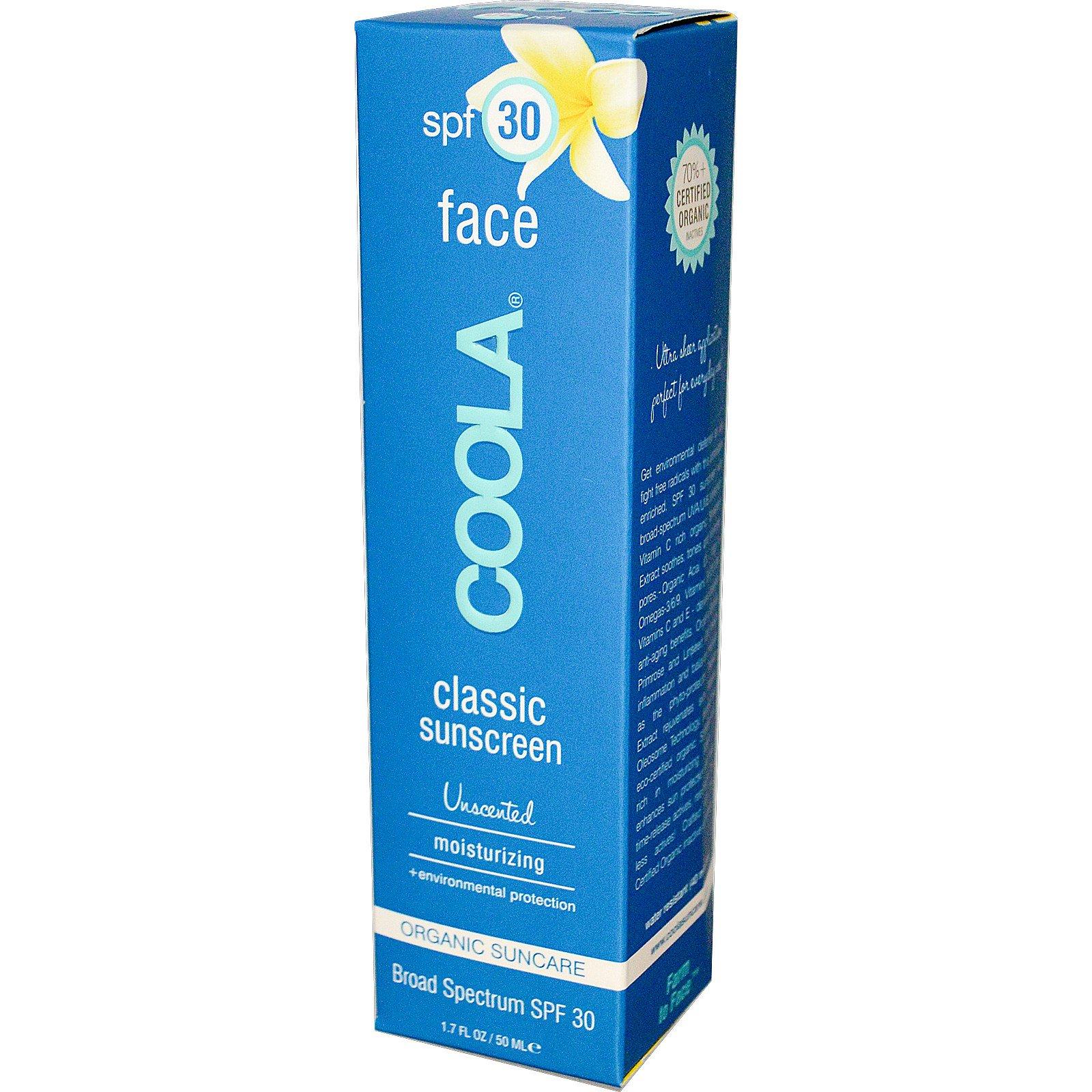 COOLA Organic Suncare Collection, Классический солнцезащитный крем для лица с SPF 30 без запаха, 50 мл