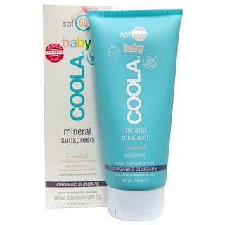 COOLA Organic Suncare Collection, Baby Mineral Sunscreen, SPF 50, Unscented Moisturizer, 3 fl oz (90 ml)