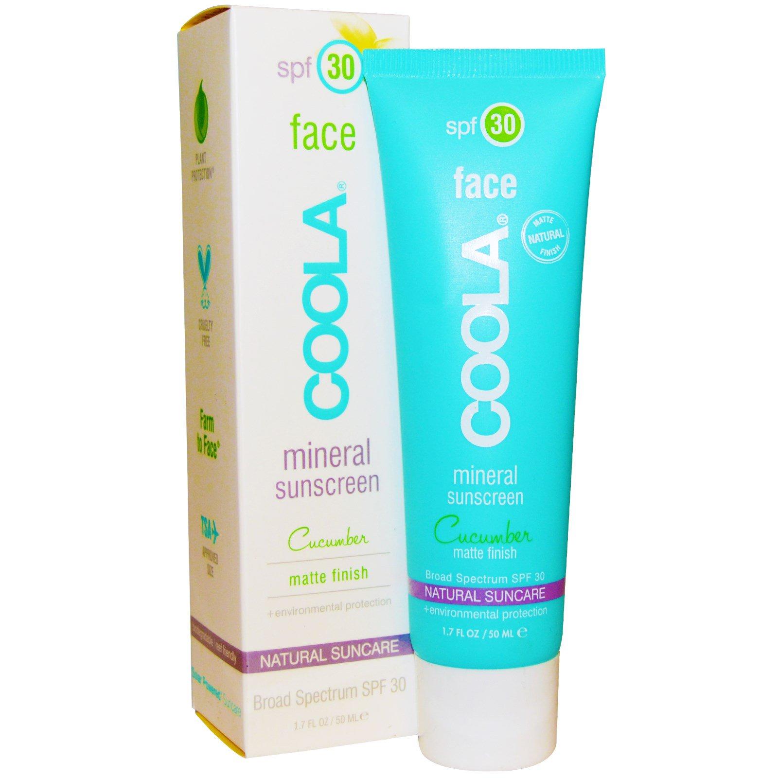 COOLA Organic Suncare Collection, Минеральный солнцезащитный крем для лица с SPF 30, матовое покрытие и огуречный аромат, 50 мл