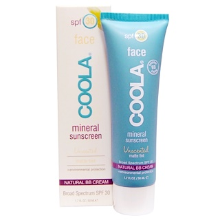 COOLA Organic Suncare Collection, Mineral Face, Mineral Sunscreen, SPF 30, Matte Tint, Unscented, 1.7 fl oz (50 ml)