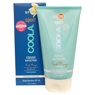 COOLA Organic Suncare Collection, Classic Sport, Classic Sunscreen, SPF 50, Fresh Mango, 5 fl oz (148 ml)