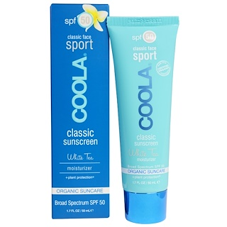 COOLA Organic Suncare Collection, Classic Face Sport, Classic Sunscreen, White Tea, SPF 50, 1.7 fl oz (50 ml)